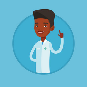 Young african-american doctor with finger up. Doctor in medical gown showing finger up. Man in doctor uniform pointing finger up. Vector flat design illustration in the circle isolated on background.