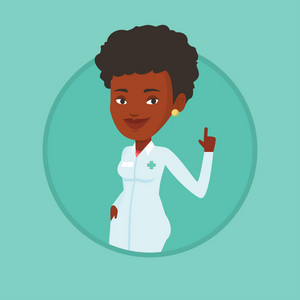 Young african-american doctor with finger up. Doctor in medical gown showing finger up. Woman in doctor uniform pointing finger up. Vector flat design illustration in the circle isolated on background