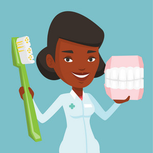 Young african-american female dentist holding dental jaw model and a toothbrush in hands. Friendly dentist showing dental jaw model and toothbrush. Vector flat design illustration. Square layout.