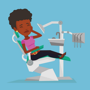 Young african-american female patient visiting dentist because of toothache. Sad patient suffering from toothache. Woman having a strong toothache. Vector flat design illustration. Square layout.
