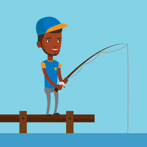 Young african-american fisherman fishing on the lake. Man relaxing during fishing on jetty. Smiling angler standing on jetty with fishing-rod in hands. Vector flat design illustration. Square layout.