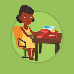 Young african-american journalist writing an article on a vintage typewriter. Concentrated journalist working on retro typewriter. Vector flat design illustration in the circle isolated on background.