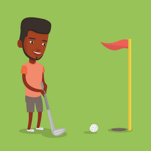 Young african-american male golfer playing golf. Young golfer hitting the ball in the hole with red flag. Professional golfer on the golf course. Vector flat design illustration. Square layout.