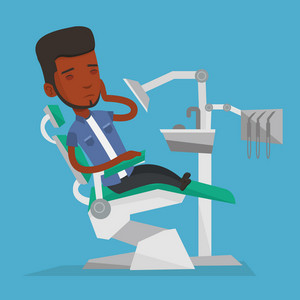 Young african-american male patient visiting dentist because of toothache. Sad male patient suffering from toothache. Man having a strong toothache. Vector flat design illustration. Square layout.