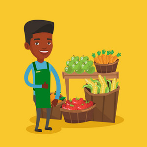 Young african-american male supermarket worker giving thumb up while standing on the background of shelves with vegetables and fruits in supermarket. Vector flat design illustration. Square layout.