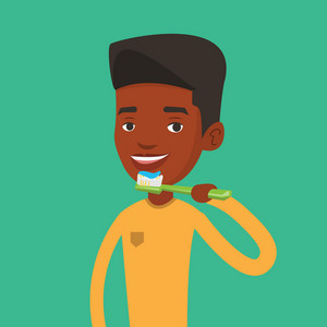 Young african-american man brushing his teeth. Smiling man cleaning his teeth. Cheerful man taking care of his teeth. Happy guy with toothbrush in hand. Vector flat design illustration. Square layout.