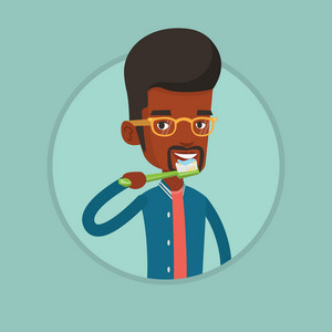 Young african-american man brushing his teeth. Smiling man cleaning teeth. Man taking care of teeth. Man with toothbrush in hand. Vector flat design illustration in the circle isolated on background.