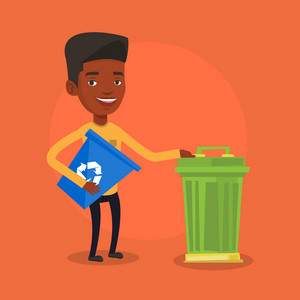 Young african-american man carrying recycling bin. Smiling man holding recycling bin while standing near a trash can. Waste recycling concept. Vector flat design illustration. Square layout.