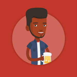 Young african-american man celebrating with beer. Smiling man holding a big glass of beer. Cheerful man drinking beer. Vector flat design illustration in the circle isolated on background.