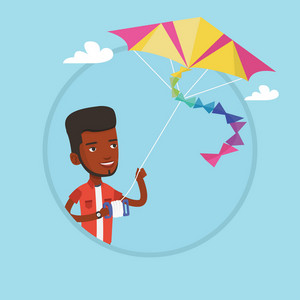 Young african-american man flying a colourful kite. Man controlling a kite. Happy man walking with kite. Vector flat design illustration in the circle isolated on background.