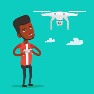Young african-american man flying drone with remote control. Smiling man operating a drone with remote control. Happy man controling a drone. Vector flat design illustration. Square layout.