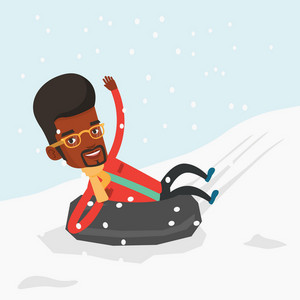 Young african-american man having fun while sledding on snow rubber tube in mountains. Man riding on snow rubber tube. Man sitting in snow rubber tube. Vector flat design illustration. Square layout.