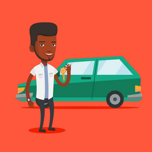 Young african-american man holding keys to his new car. Happy man showing key to his new car. Smiling man standing on the backgrond of his new car. Vector flat design illustration. Square layout.