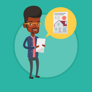 Young african-american man looking at photo of a house on a digital tablet. Man seeking for appropriate house on a tablet computer. Vector flat design illustration in the circle isolated on background