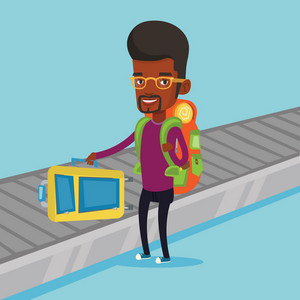 Young african-american man picking up his suitcase on luggage conveyor belt at airport. Happy passenger taking his luggage at conveyor belt at airport. Vector flat design illustration. Square layout.