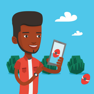 Young african-american man playing action game on smartphone. Young man playing on his smartphone outdoor. Man using smartphone for playing games. Vector flat design illustration. Square layout.
