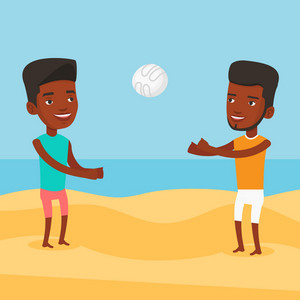 Young african-american man playing beach volleyball with his friend. Two men having fun while playing beach volleyball during summer holiday. Vector flat design illustration. Square layout.