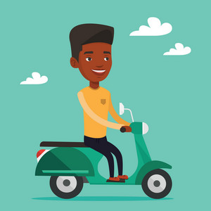 Young african-american man riding a scooter outdoor. Smiling man traveling on a scooter. Happy man enjoying his trip on a scooter. Vector flat design illustration. Square layout.