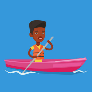 Young african-american man riding in a kayak in the river. Man with skull in hands traveling by kayak. Male kayaker paddling. Man paddling a canoe. Vector flat design illustration. Square layout.