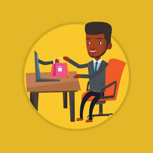 Young african-american man shopping online. Happy man making online order in virtual shop. Man using laptop for online shopping. Vector flat design illustration in the circle isolated on background.