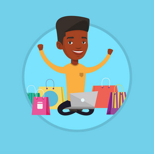 Young african-american man using laptop for shopping online. Man sitting with shopping bags around him. Man doing online shopping. Vector flat design illustration in the circle isolated on background.