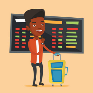 Young african-american man waiting for a flight at the airport. Passenger with suitcase standing at the airport on the background of departure board. Vector flat design illustration. Square layout.