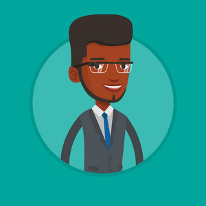 Young african-american man wearing smart glasses. Business man wearing wearable computer with an optical head-mounted display. Vector flat design illustration in the circle isolated on background.
