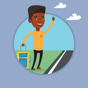 Young african-american man with suitcase hitchhiking on roadside. Hitchhiking man trying to stop a car on a highway by waving hand. Vector flat design illustration in the circle isolated on background