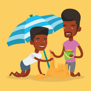 Young african-american men making sand castle on the beach under beach umbrella. Smiling friends building sand castle. Tourism and beach holiday concept. Vector flat design illustration. Square layout