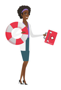 Young african-american paramedic holding first aid box and lifebuoy. Smiling paramedic standing with first aid box and lifebuoy in hands. Vector flat design illustration isolated on white background.