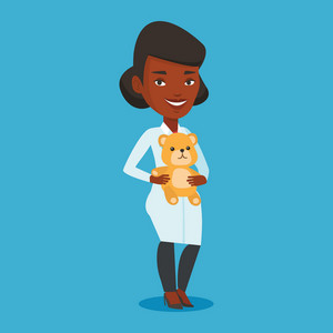 Young african-american pediatrician in medical gown. pediatrician doctor holding a teddy bear. Female pediatrician doctor standing with a teddy bear. Vector flat design illustration. Square layout.