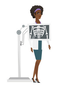 Young african-american roentgenologist doctor during chest x ray procedure. Roentgenologist doctor with x ray screen showing her skeleton. Vector flat design illustration isolated on white background.