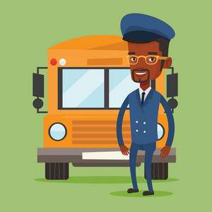 Young african-american school driver standing in front of yellow bus. Smiling school bus driver in uniform. Cheerful school bus driver. Vector flat design illustration. Square layout.