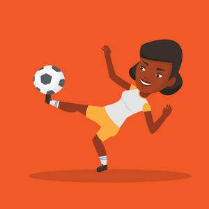 Young african-american soccer player kicking ball during game. Happy female soccer player juggling with a ball. Football player playing with soccer ball. Vector flat design illustration. Square layout