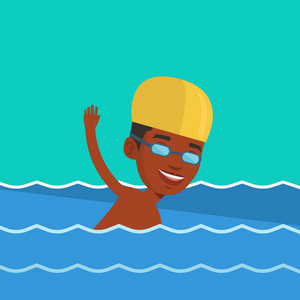 Young african-american sportsman in cap and glasses swimming in pool. Professional male swimmer in swimming pool. Man swimming forward crawl style. Vector flat design illustration. Square layout.