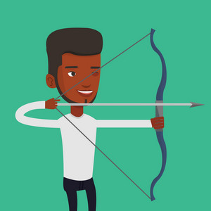 Young african-american sportsman practicing in archery. Concentrated sportive man training with the bow. Archery player aiming with a bow in hands. Vector flat design illustration. Square layout.