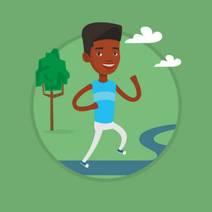 Young african-american sportsman running outdoors. Sportsman running in the park. Running sportsman on forest road. Vector flat design illustration in the circle isolated on background.