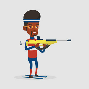 Young african-american sportsman taking part in ski biathlon competition. Happy biathlon runner aiming at the target. Biathlon shooter with a weapon. Vector flat design illustration. Square layout.