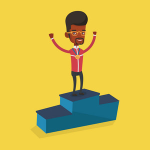 Young african-american sportsman with gold medal and raised hands standing on the winners podium. Man celebrating on the winners podium. Winner concept. Vector flat design illustration. Square layout.