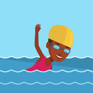 Young african-american sportswoman in cap and glasses swimming in pool. Professional female swimmer in swimming pool. Woman swimming forward crawl style. Vector flat design illustration. Square layout