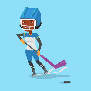 Young african-american sportswoman playing ice hockey. Female ice hockey player in uniform skating on a rink. Ice hockey player with a stick and puck. Vector flat design illustration. Square layout.
