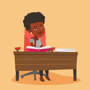Young african-american student sitting at the table and thinking. Thinking student writing in exercise book. Thinking female student doing homework. Vector flat design illustration. Square layout.