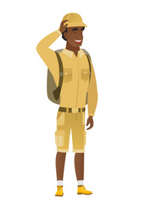 Young african-american traveler laughing. Traveler laughing with hands on his head. Traveler laughing with closed eyes and open mouth. Vector flat design illustration isolated on white background.