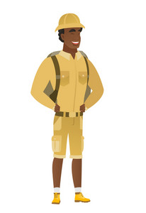 Young african-american traveler laughing. Traveler laughing with hands on his stomach. Traveler laughing with closed eyes and open mouth. Vector flat design illustration isolated on white background.