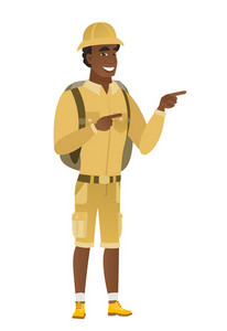 Young african-american traveler pointing to the side. Traveler pointing his finger to the side. Traveler pointing to the right side. Vector flat design illustration isolated on white background.