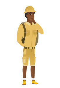Young african-american traveler thinking. Full length of thinking traveler with hand on chin. Traveler thinking and looking to the side. Vector flat design illustration isolated on white background.