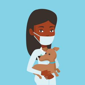 Young african-american veterinarian holding dog. Veterinarian in medical mask carrying a dod. Veterinarian examining dog. Medicine and pet care concept. Vector flat design illustration. Square layout.