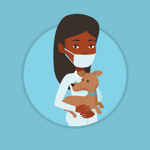Young african-american veterinarian holding small dog. Veterinarian in medical mask carrying a dog. Veterinarian examining dog. Vector flat design illustration in the circle isolated on background.