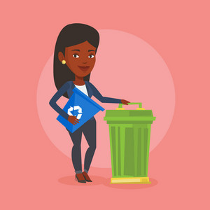 Young african-american woman carrying recycling bin. Smiling woman holding recycling bin while standing near a trash can. Waste recycling concept. Vector flat design illustration. Square layout.