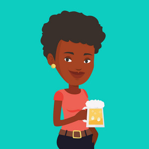 Young african-american woman celebrating with beer. Smiling woman holding a big glass of beer. Full length of female beer fan. Vector flat design illustration. Square layout